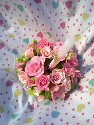 pink roses and lily center piece