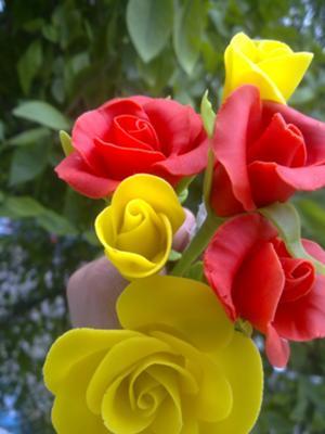 mixed color cold porcerlain roses