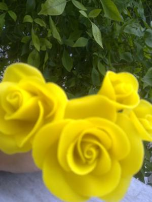 yellow cold porcelain roses
